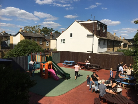 Outdoor area inc play area for